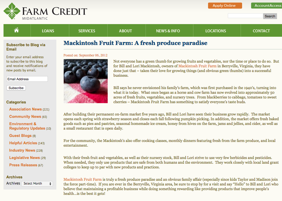 In the News | Mackintosh Fruit Farm